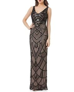 Js Collections Art Deco Beaded Gown Women's Black/Nude 4 from Lord & Taylor | ShapeShop