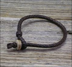 Kangaroo Leather Bracelet with Deer Antler Button by LBbyJ on Etsy, $35.00