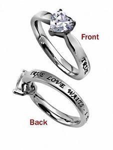 True Love Waits Ring with CZ Stone. www.Gods-411.com