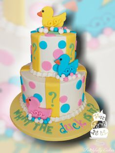 """""""What the duck is it?"""" gender reveal cake."""