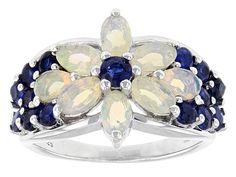 .86ctw Oval And Pear Shape Ethiopian Opal With 1.20ctw Kyanite Sterlin