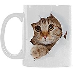 Tabby Cat Mug Funny Cat Looking From The Inside I love My Cat Cat Lover Coffee Mug Cup, Christmas Birthday Gifts for Men Women Mom Dad Him Her