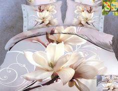 Pościele bawełniane w kolorze lawendowym na łóżko z białym kwiatem
