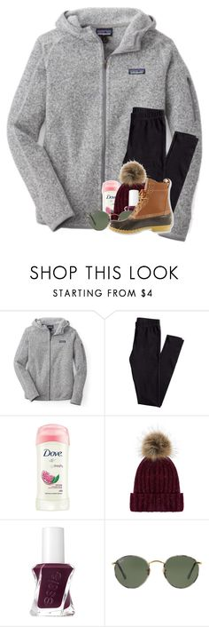 """snow day contest ❄️"" by madelinelurene ❤ liked on Polyvore featuring Patagonia, H&M, Dove, Accessorize, Essie, Ray-Ban and L.L.Bean"