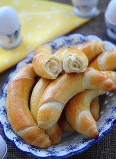 We called them salt kiflis as my nanny would put salt on the top. Bake Croissants, Bread And Company, Bosnian Recipes, Kolaci I Torte, Savory Pastry, Bread Bun, Salty Snacks, Felt Food, Bread Baking