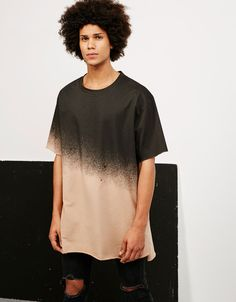 Camiseta felpa degradada - Camisetas - Bershka España