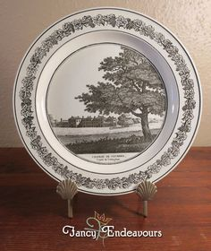 Antique Creil French Creamware Plate of English Scene Clumber Park Nottingham #Creil