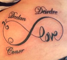 My love infinity tattoo with kids names