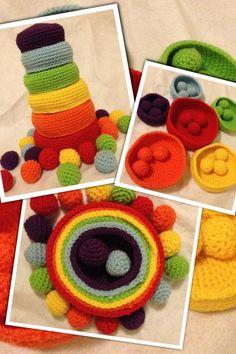 Set of 6 Crochet Rainbow Nesting Bowls & 18 matching coloured balls AUD$35 + p http://www.facebook.com/invitations2explore