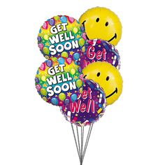 SmileandwishGetwell6MylarBalloons BallonsDelivery BestBalloons Usa Get Well Balloons Send
