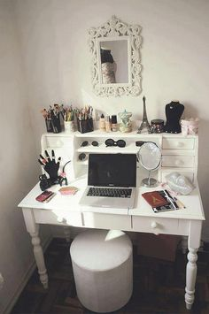 LOVE this desk and the mirror (if the mirror as MUCH larger). I do not like how the desk and vanity idea is combined unless it was for a dorm room or small apartment.
