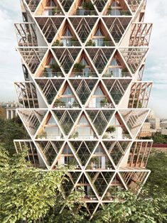 Architecture studio Precht has developed a concept for modular housing called The Farmhouse, where residents produce their own food in vertical farms. Triangular Architecture, Module Architecture, Architecture Design, Parametric Architecture, Green Architecture, Concept Architecture, Sustainable Architecture, Residential Architecture, Modular Housing