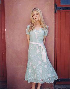 Emilia Fox  White and light blue modest dress I like the way it's made