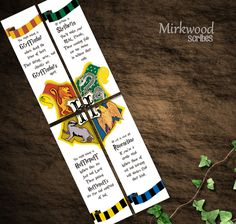 Harry Potter Bookmarks Hogwarts Houses by MirkwoodScribes