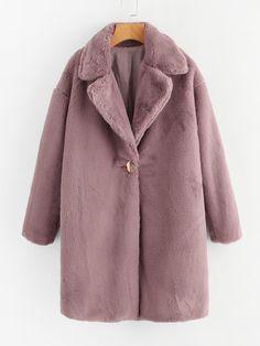 Shop Single Button Faux Fur Longline Coat online. SheIn offers Single Button Faux Fur Longline Coat & more to fit your fashionable needs.
