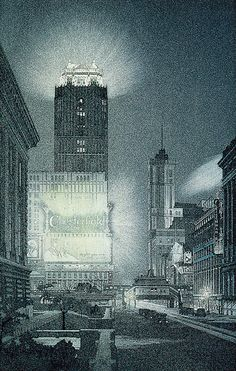 West Forty-Second Street, Night, 1922, John Taylor Arms  color aquatint and etching on paper plate