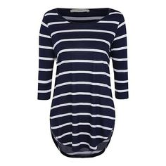 George Stripe Long Sleeve Top (130.110 IDR) ❤ liked on Polyvore featuring tops, stripe top, blue top, striped top, rayon tops and long sleeve tops