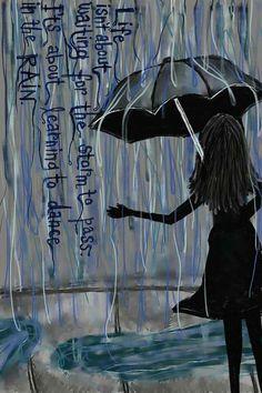 Dance in the rain. Original art by Tiffany Frey