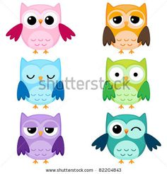 Set of six cartoon owls with various emotions. Second set of two. by Yulia M., via Shutterstock