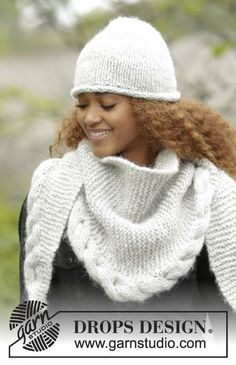"Winter Cozy - The set includes: Knitted DROPS hat in ""Cloud"" and across . : Winter Cozy – The set includes: Knitted DROPS hat in ""Cloud"" and cross-knitted cloth in ""Cloud"" with ruched ribs and braid. – Free pattern by DROPS Design Poncho Crochet, Crochet Mittens Pattern, Poncho Knitting Patterns, Knitted Shawls, Free Knitting, Crochet Hats, Crochet Patterns, Knitted Hat, Drops Design"