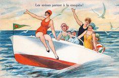 """Vintage """"Les sirènes partent à la conquète"""" postcard. vintage 1920s boat summer beach"""