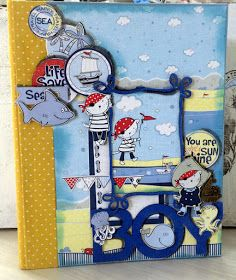 ScrapBerry's: Adorable boy scrapbook mini album made with the Ziggy & Zoe's Sailing Adventures collection by Solange Marques.