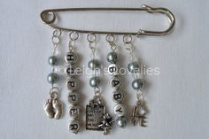 Personalised Charm Nappy Pin, grey brooch Mum to be.  Unique keepsake, perfect for baby shower gift.. £4.99, via Etsy.