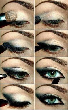 make-up trends smokey eyes unwiderstehlich schminken Eye Makeup Steps, Cat Eye Makeup, Love Makeup, Skin Makeup, Beauty Makeup, Eyeshadow Makeup, Amazing Makeup, Makeup Contouring, Green Eyeshadow
