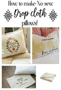 How to Make No Sew Drop Cloth Pillows - easy tutorial with stencil ideas included.