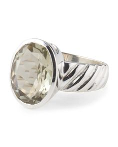Made In India Sterling Silver And Green Amethyst Ring