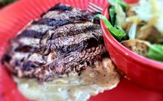 Grilled Ribeye Steak with Onion Bue Cheese Sauce adapted from The Pioneer Woman