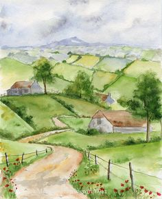 Original Painting - Ireland Landscape - Irish Country Road - 8x10 - Rolling Hills - Watercolor on Etsy, $150.00
