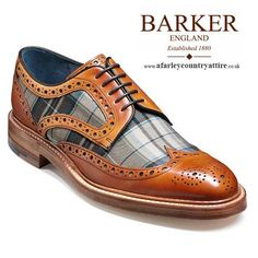 Barker Shoes - Blair - Country Brogue - Cedar Calf / Fabric - Barker Shoes AW14