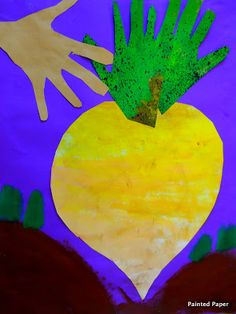 Once upon a time, in Russia, an old man planted some turnip seeds. Each year he grew good turnips, but this year he was especially proud of one very big turnip. He left it in the ground long… Toddler Crafts, Preschool Crafts, Traditional Tales, Traditional Stories, Painted Paper, Elementary Art, Nursery Rhymes, In Kindergarten, Art Lessons