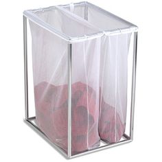 Chrome Double Laundry Bag Stand, with different colored bags