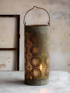 Beautiful old punched tin to cover a candle and allow it to glow through the holes Primitive Lighting, Primitive Candles, Rustic Lighting, Yoga Studio Design, Deco Nature, Moroccan Lanterns, Candle Lanterns, Lanterns Decor, Houses
