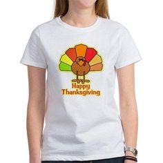 CafePress Women's Happy Thanksgiving Turkey T-Shirt, Size: Medium, White
