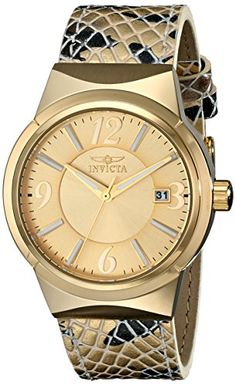 Women's Wrist Watches - Invicta Womens 17296SYB Angel Analog Display Japanese Quartz Gold Watch *** Check this awesome product by going to the link at the image.