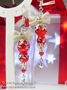 Mill Lane Studio: Day 2 - Twelve Days of Christmas - Bright Red Christmas Ornaments - ornaments for your ears! #jewelrymaking