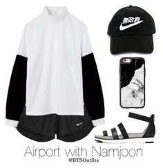 Airport with Namjoon by btsoutfits on Polyvore featuring moda, NIKE, Zina, Casetify and Dries Van Noten