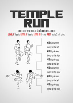 Temple Run Workout - High Burn Neila Rey Workout, Workout Guide, Workout Challenge, Workout Gear, Warrior Workout, Workout Plans, Movie Workouts, Easy Workouts, Circuit Workouts