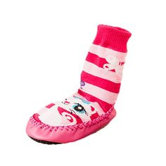 Moolecole Baby Indoor Socks Moccasins NON SKID PINK STRIPED Cute Cat 17cm