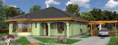 Fachadas de casas de un piso con techos a 4 aguas