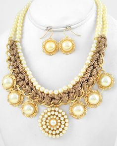 Gold Tone / Cream Synthetic Pearl & Mocha Woven Cord / Lead Compliant / Necklace & Fish Hook Earring Set