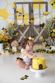 Julie Wagner Photography is an Eastern Shore of Maryland based Children, Newborn, Family and Maternity Photographer. Bee Birthday Cake, Sunflower Birthday Parties, Bumble Bee Birthday, 1st Birthday Party For Girls, Girl Birthday Decorations, First Birthday Themes, Baby First Birthday, Bumble Bee Cake, Birthday Ideas