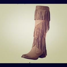 """Not Rated Women's Witty Giddy Tan Fringe Boots 10 Description Product Description Pull-on construction. Almond toe. Cascading fringe detail. Textile lining. Man-made footbed. Stacked heel. Man-made sole. Imported. About this item Features Synthetic Imported Manmade sole Shaft measures approximately 17"""" from arch Heel measures approximately 1.75"""" Boot opening measures approximately 14.5"""" around Microfiber boot featuring braided trim at topline and layered fringe on shaft Stacked block heel…"""