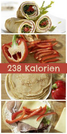 Köstlicher Snack mit herzhafter Füllung: Pfannkuchen-Wraps mit Käse und Schinken   http://eatsmarter.de/rezepte/pfannkuchen-wraps