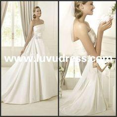 Custom made The most popular Strapless Satin pleat beaded decorate Long train 2014 Wedding Dress