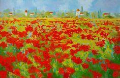 """""""Poppy Field"""" - Landscape Painting by Cynthia Reid"""