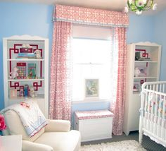 Love the draperies and flanking bookcases.  This could be big boy room (obviously with different colors) or baby girl room (if we get a baby girl).  That's Wade's crib!!